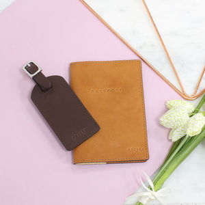 Personalised Italian Leather Passport And Luggage Tag - bags & purses