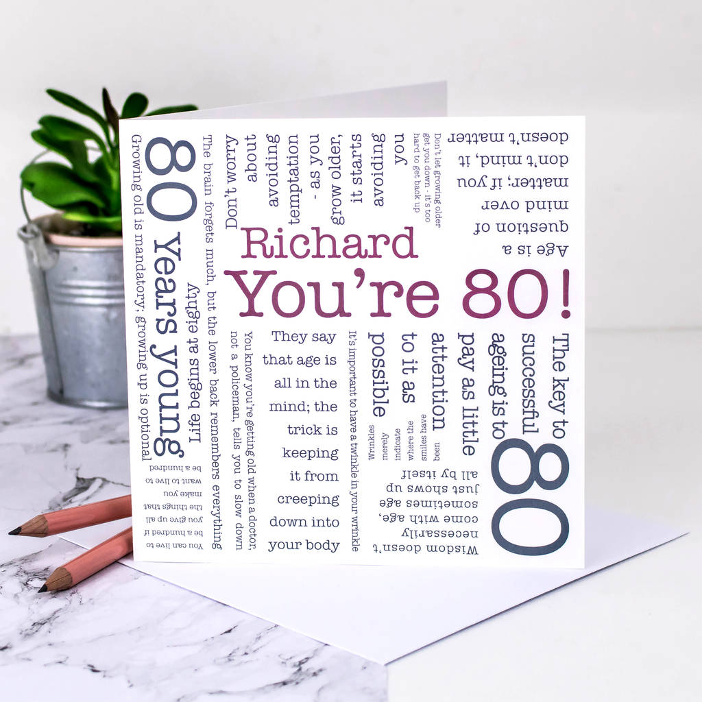 80th Birthday Card Youre 80 Quotes By Coulson Macleod