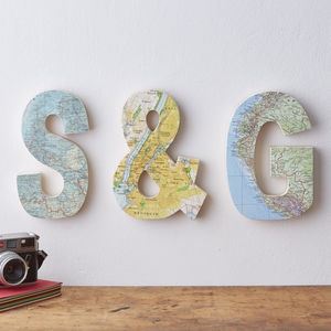 Map Location Wooden Wall Letters Wedding Gift - engagement gifts