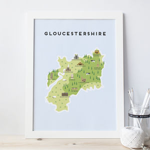 Map Of Gloucestershire - new in prints & art
