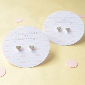 Silver Heart Stud Earrings - earrings