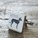 Daddy And Me Lurcher Cufflinks And Dog Tag Set