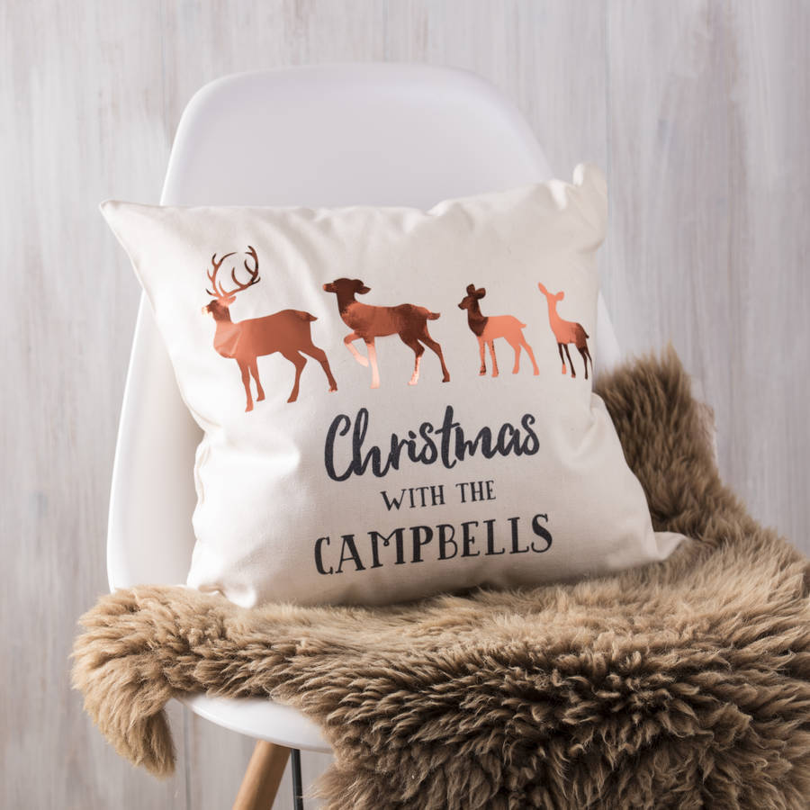 Personalised Copper Christmas Family Deer Cushion