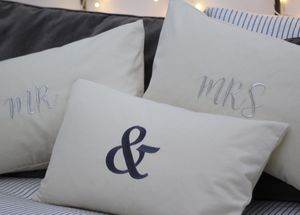 Personalised Embroidered Mr And Mrs Cushion