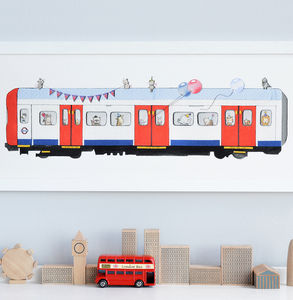 Personalised Framed Tube Train Nursery Print