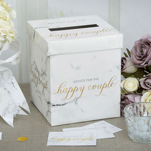 Marble And Gold Wedding Advice Box - room decorations