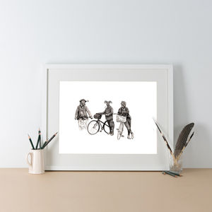 Country Gents Cycling Roadtrip Illustration Print - animals & wildlife
