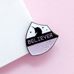 25mm Unicorn Believer Crest Enamel Pin Badge - pins & brooches