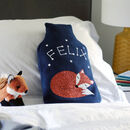 Fox Personalised Glow In Dark Hot Water Bottle Cover