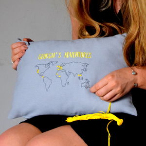 Stitch Your Own Destinations World Map Cushion