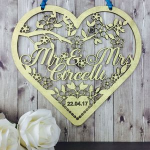 Personalised Wedding Heart Hanging Decoration Gift - room decorations