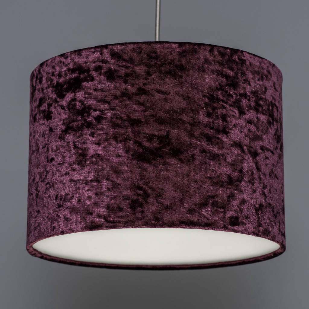 Copper table lamp with choice of velvet lampshade by quirk aubergine mozeypictures Gallery