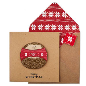 Personalised Christmas Jumper Hedgehog Xmas Card - cards & wrap