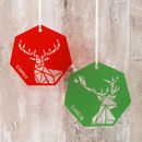 Personalised Geometric Reindeer Decoration