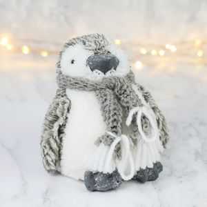 Frosted Glitter Penguin Ornament - snow globes & ornaments