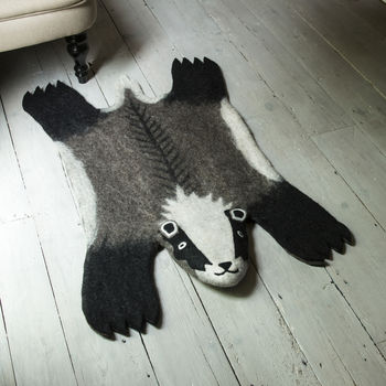 Billie Badger Handmade Felt Animal Rug