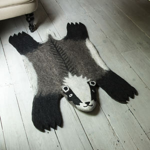 Billie Badger Handmade Felt Animal Rug - baby's room