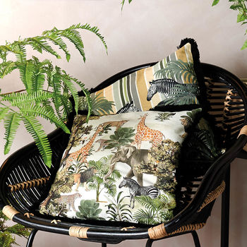 Jungle Print Tufted Cushion