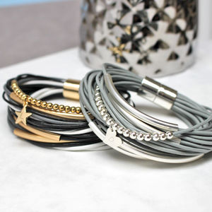 Personalised Multi Strand Leather Bracelet - whatsnew