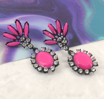 Neon Pink Gem Drop Earrings