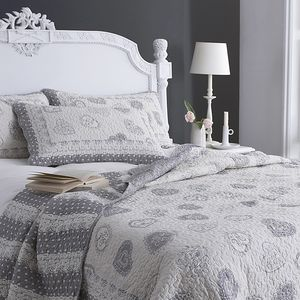 Grey Hearts Cotton Bedspread