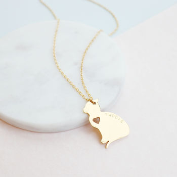 Personalised Cat And Heart Necklace
