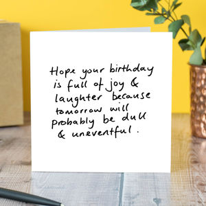 Joy And Laughter Birthday Card