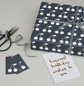 Luxury Navy Cherries Wrapping Paper Bundle - ribbon & wrap