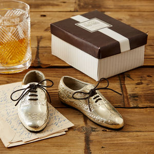 Pair Of Silver Oxford Wingtip Shoe Paperweights - paperweights