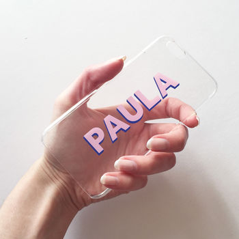Clear, Pink And Navy Monogram Clear Case
