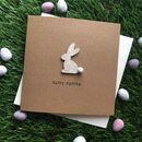 Happy Easter Rabbit Pom Pom Tail Card