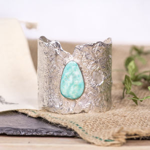 Solid Sterling Silver Turquoise Cuff Large - bracelets & bangles