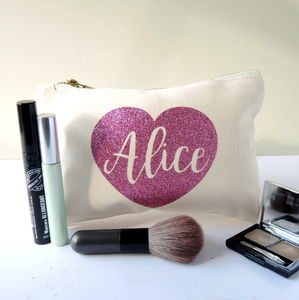Personalised Sparkly Heart Make Up Bag