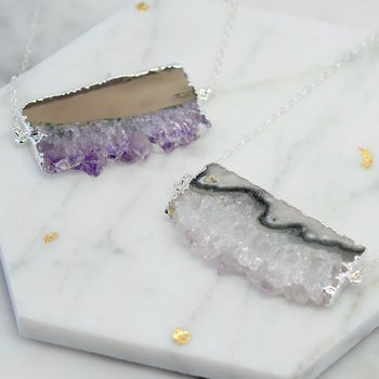 Sterling Silver Amethyst Slice Necklace