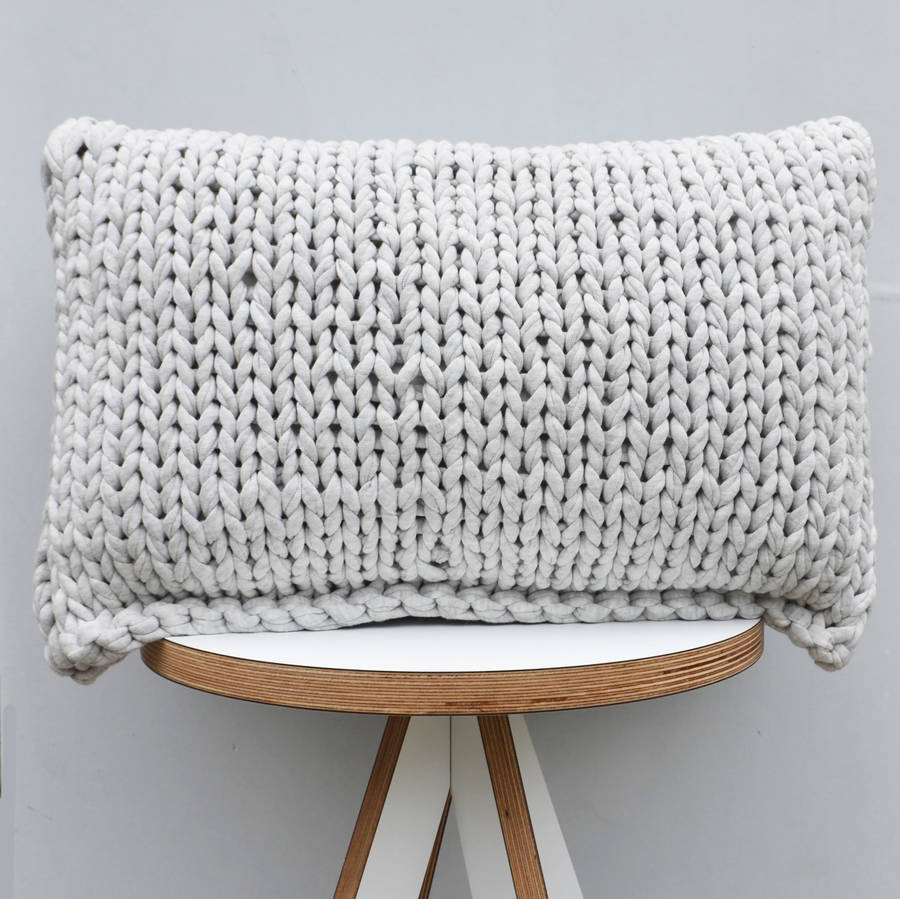 hand knitted rectangle cushion by jessica lee notonthehighstreet.com