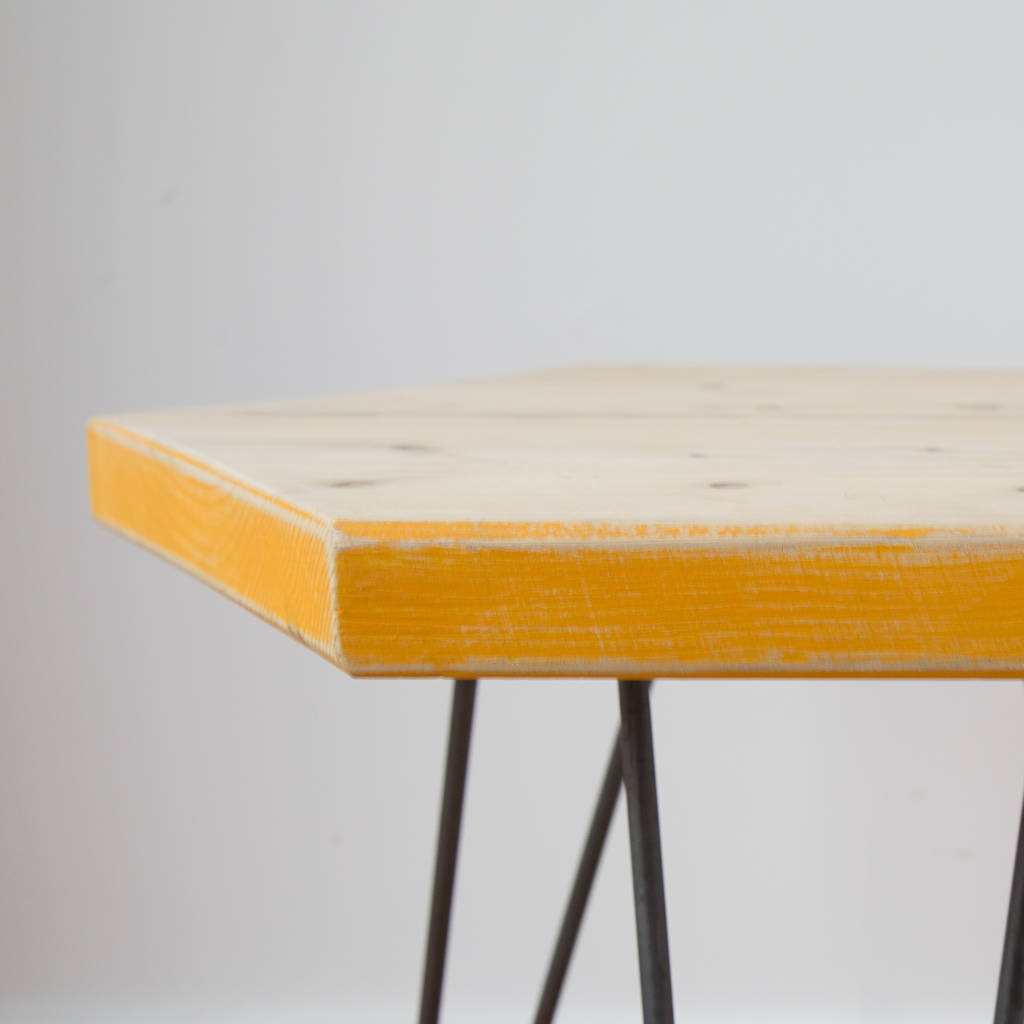 Wooden Hexagon Coffee Table With Marigold Yellow Edges By Made Anew