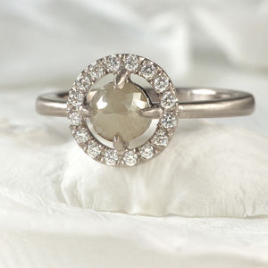 Rose Cut Diamond Halo Engagement Ring - rings