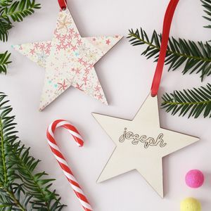 Liberty Print Personalised Christmas Tree Decoration