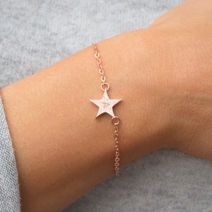 Personalised Hammered Initial Star Bracelet - birthstone jewellery gifts
