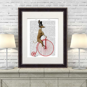 Greyhound Print, Greyhound On Penny Farthing - canvas prints & art