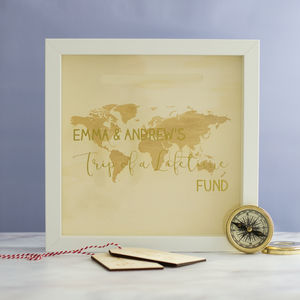 Personalised Trip Of A Lifetime Money Box Frame - frequent traveller