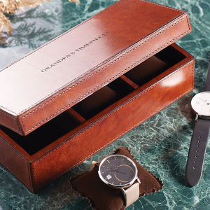 Personalised Classic Leather Watch Box Triple - gifts for him sale