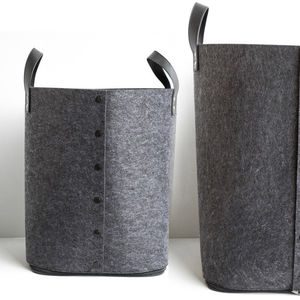 Grey Button Up Felt Storage Bag - baby's room