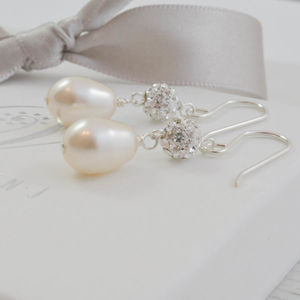 Pearl And Crystal Wedding Earrings