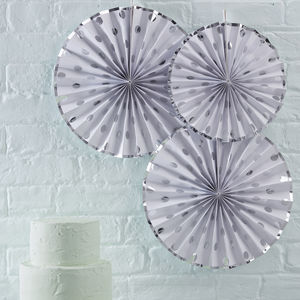 White And Silver Foiled Pinwheel Fan Decorations - summer sale