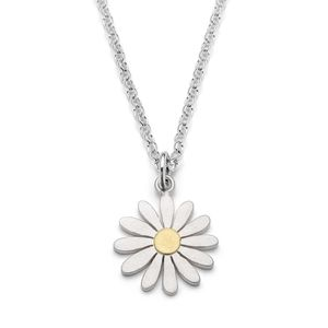 Aster Flower Pendant Necklace In Silver And 18ct Gold - necklaces & pendants