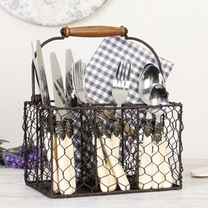 Farmhouse Chicken Wire Cutlery Caddy - trays
