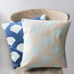 Geometric Mint Coloured Scallop Cushion