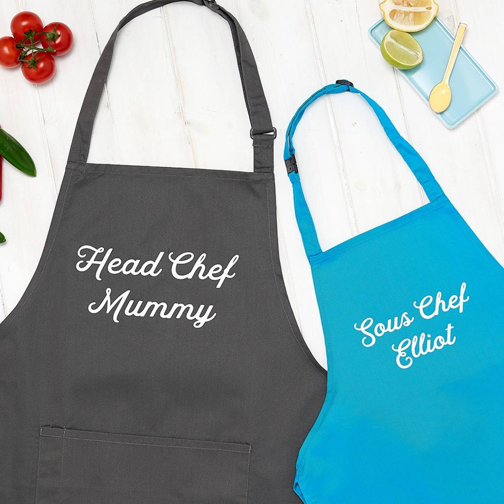 Personalised Mummy Head Chef And Sous Chef Apron Set