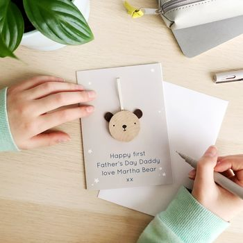 First Father's Day Wooden Bear Token Card